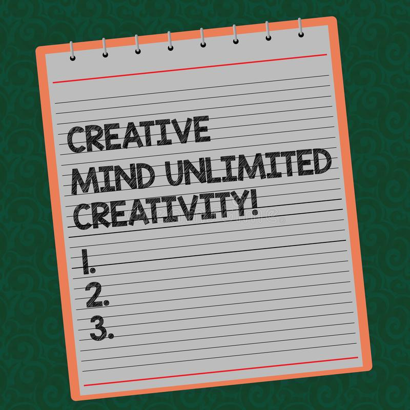 Kreativitet för idérik mening för ordhandstiltext obegränsad Affärsidéen för fullt av den briljanta hjärnan för original- idéer f royaltyfria bilder