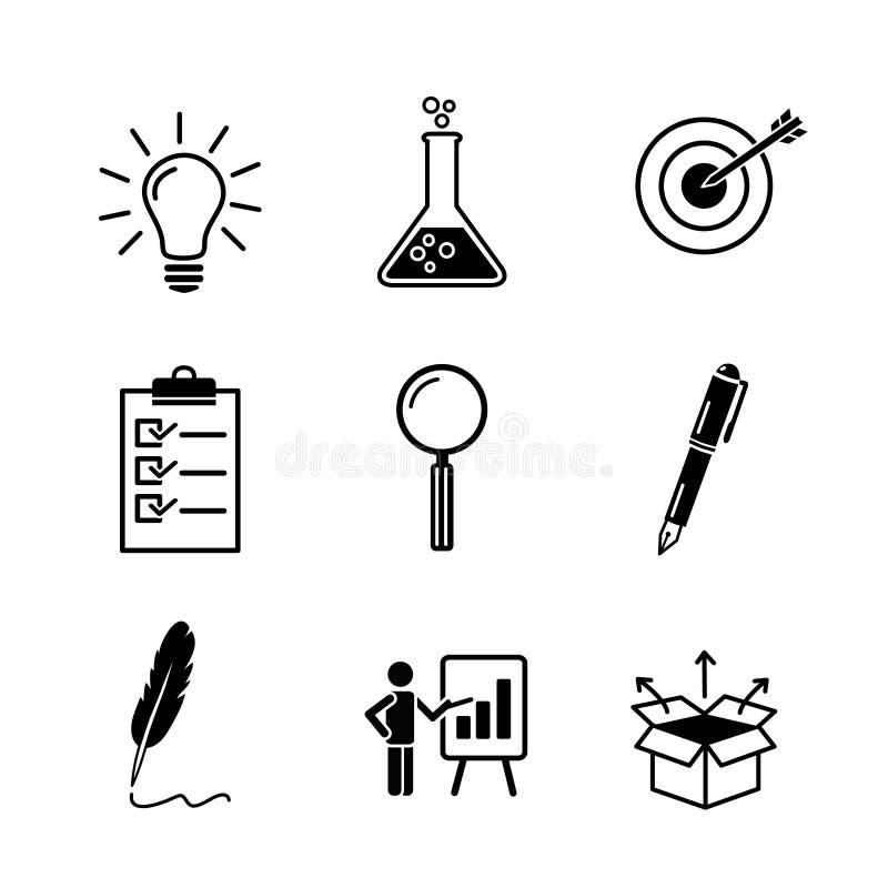 Kreativitet forskning, symbol för svart för affärsidéutveckling ställde in i plan fast stil Ligtbulb provrör, mål, kontroll royaltyfri illustrationer