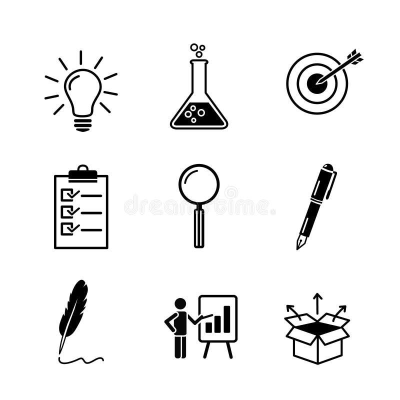 Kreativitet forskning, symbol för svart för affärsidéutveckling ställde in i plan fast stil Ligtbulb provrör, mål, kontroll stock illustrationer