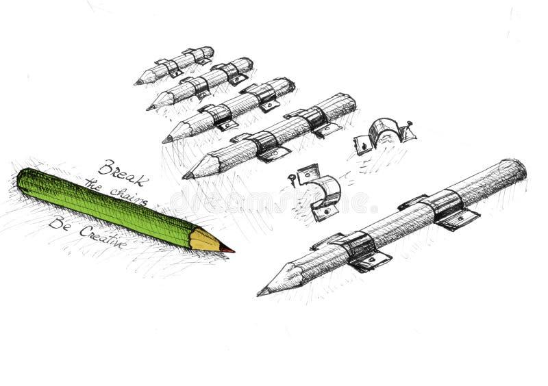 kreativitet frigör blyertspennan stock illustrationer