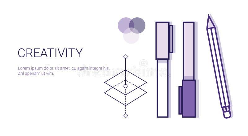Kreativitetaffärsidéprocess av det idérika utvecklingsrengöringsdukbanret med kopieringsutrymme vektor illustrationer