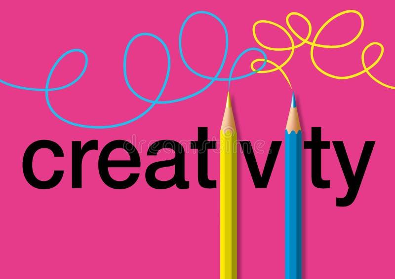 Kreativitetbegrepp med för symbolet för två blyertspennor som spårar ljusa färgslaglängder royaltyfri illustrationer