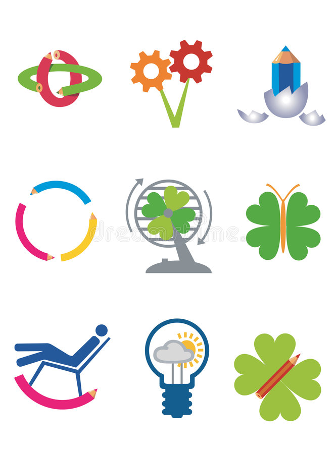 kreativitetekologisymboler royaltyfri illustrationer