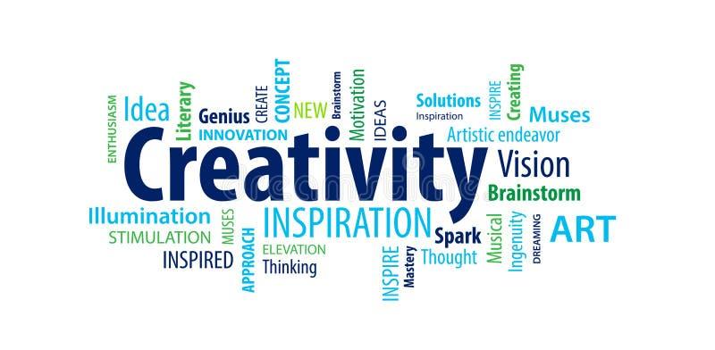 Kreativitetordmoln stock illustrationer