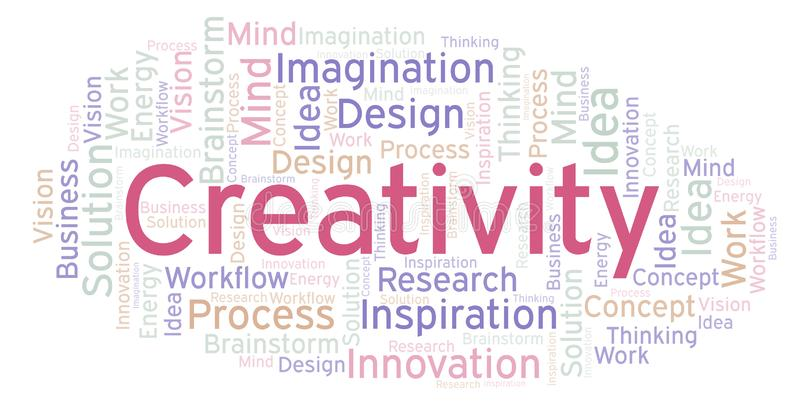 Kreativitetordmoln som göras med text endast royaltyfri illustrationer