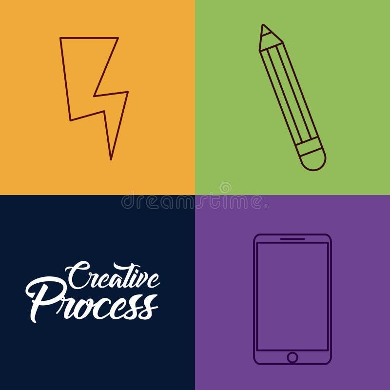 Kreativitetprocessdesign vektor illustrationer