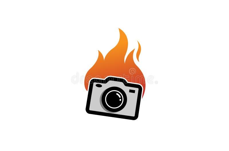 Kreatywnie Śliczna Abstrakcjonistyczna kamera ogienia logo projekta symbolu wektoru ilustracja ilustracja wektor