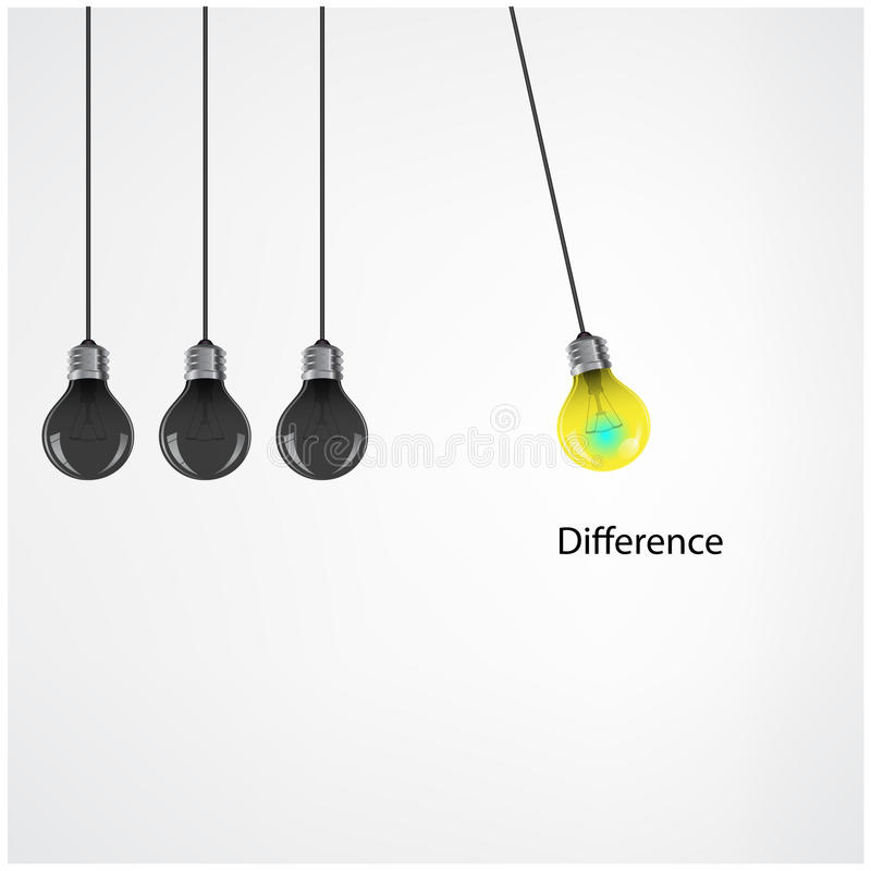 Kreatywnie żarówka pomysłu pojęcia tło, różnicy pojęcie ilustracji