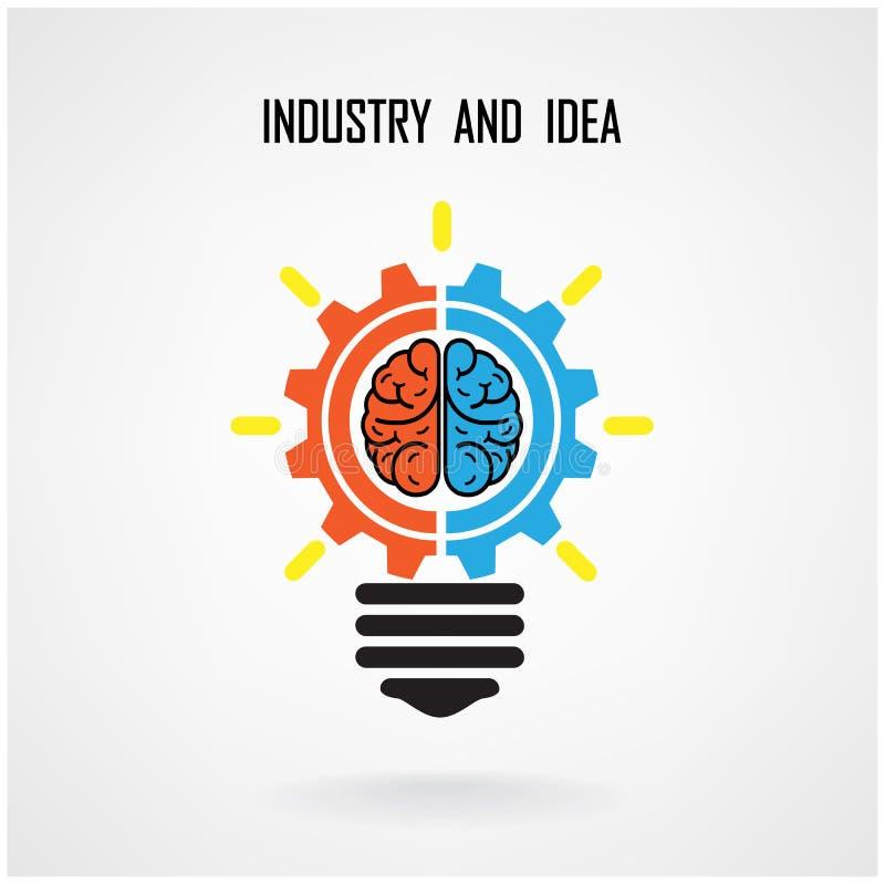 Kreatywnie żarówki pojęcie, mózg i podpisujemy na tle royalty ilustracja