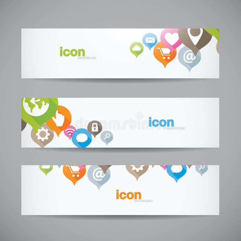 Kreatywnie abstrakcjonistyczny tło sieci ikony sztandaru heade ilustracji