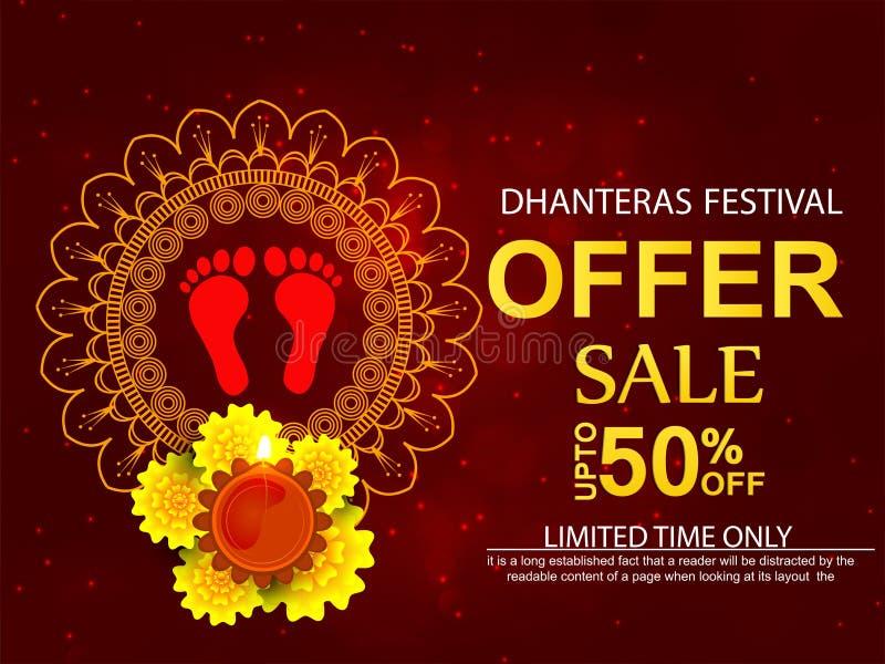 Kreatywnie abstrakt, sztandar lub plakat dla Dhanteras, ilustracja wektor