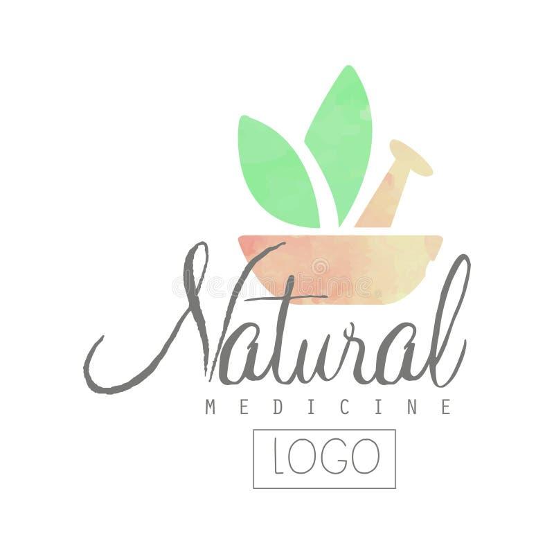 Kreatywnie akwarela logo z tłuczkiem, moździerzem i zieleń liśćmi, Alternatywna medycyna z use ziołowi remedia naturalny ilustracji