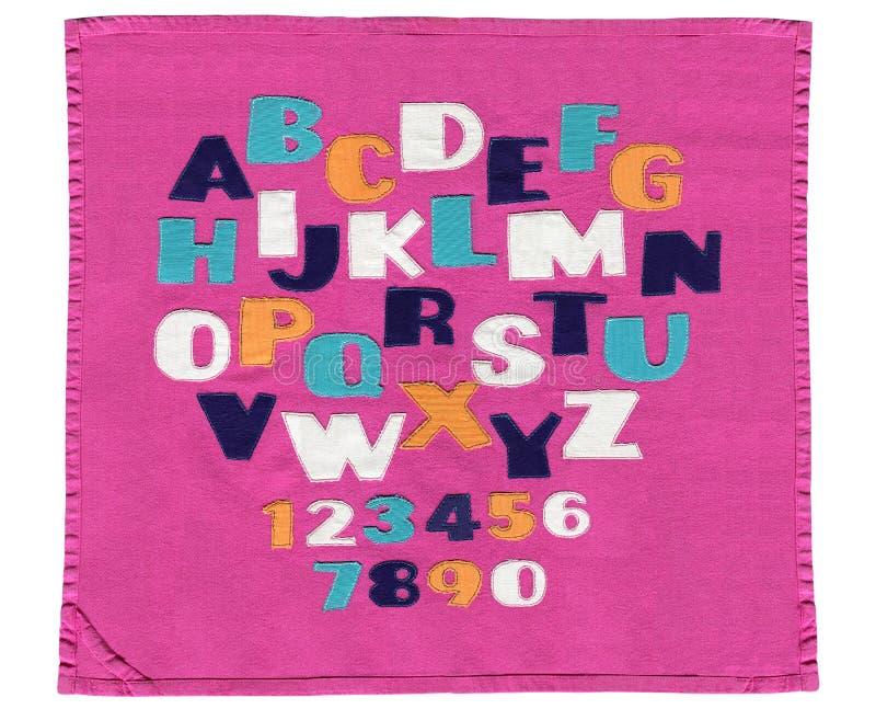 Kreatywnie angielski abecadło, dekoracyjnej tkaniny podaniowa grunge stylu pocztówki ilustracja, bieliźniana broderia, aplikacja  obraz royalty free