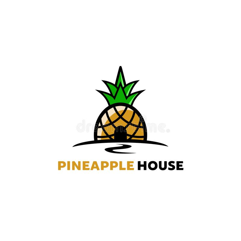 Kreatywnie Artystycznego ananasa domu logo symbolu projekta Owocowa ilustracja royalty ilustracja
