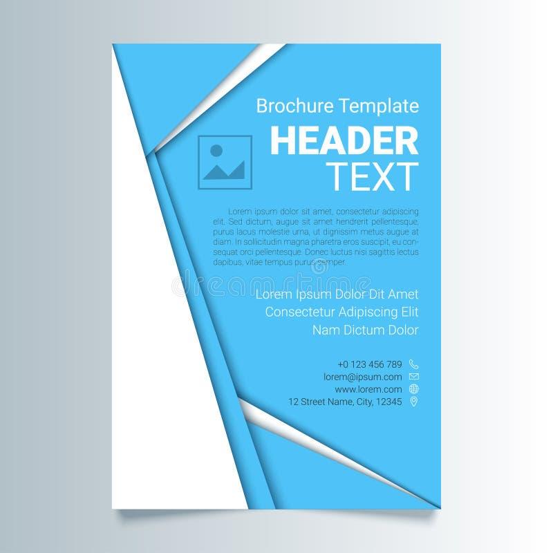 Kreatywnie błękitnej ulotki wektorowy szablon w A4 rozmiarze Broszurka biznesowy szablon, raport pokrywa w materialnym projekta s ilustracji