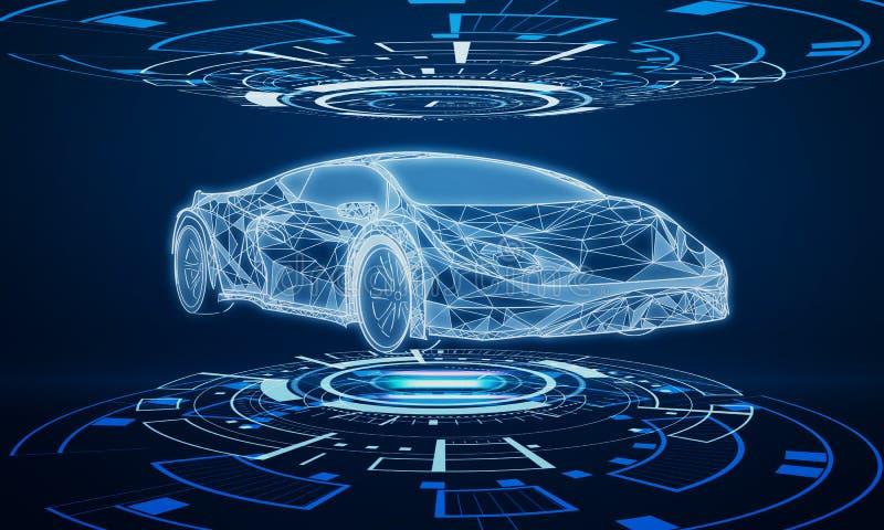 Kreatywnie błękitny samochodowy interfejs royalty ilustracja