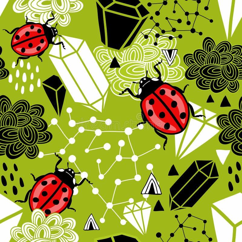 Kreatywnie bezszwowy tło z abstrakcjonistycznymi projektów elementami, ladybirds i ilustracja wektor
