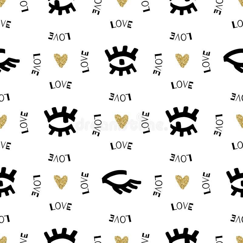 Kreatywnie bezszwowy wzór, nakreślenie przygląda się pociągany ręcznie czarnego markiera, złociści serca royalty ilustracja