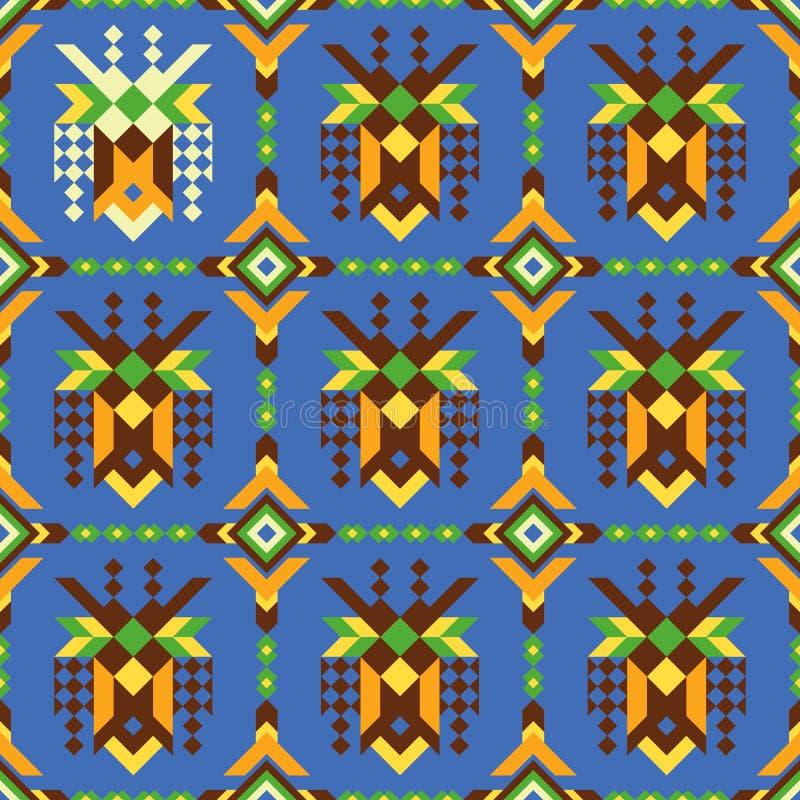 Kreatywnie bezszwowy wzór z abstrakcjonistycznymi etnicznymi maskami royalty ilustracja