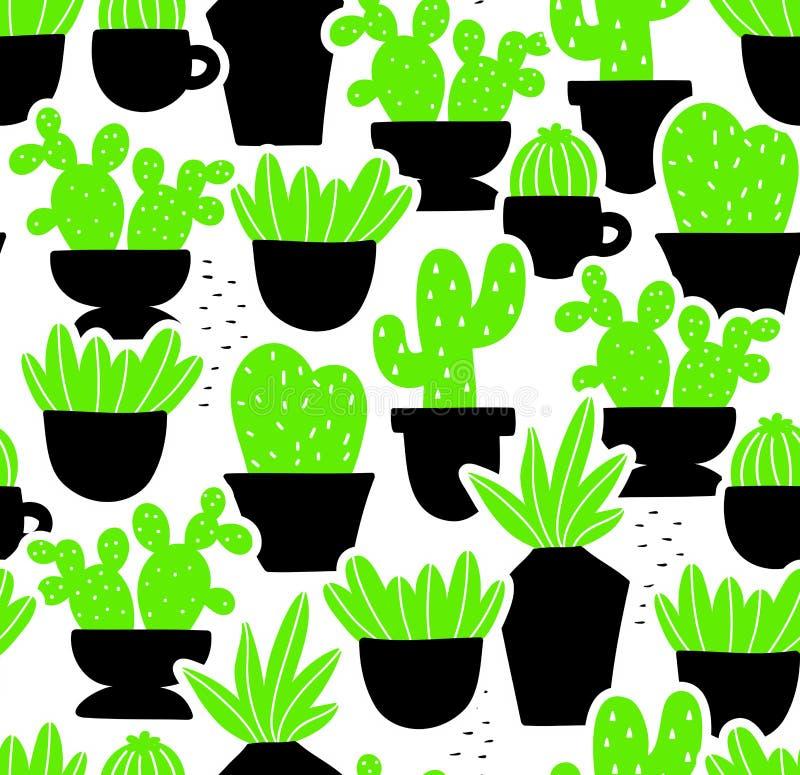Kreatywnie bezszwowy wzór z domowymi roślinami w ręka rysującym stylu ilustracja wektor