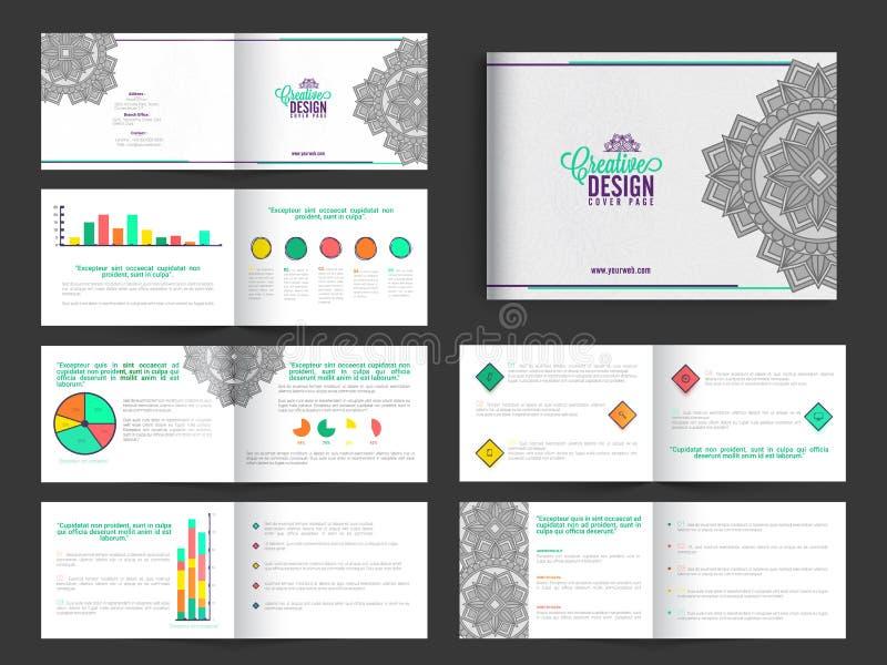 Kreatywnie Biznesowa broszurka Ustawiająca Dwanaście stron royalty ilustracja