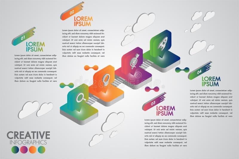 Kreatywnie biznesowe infographic projekta szablonu 4 opcje z realistyczny isometric kolorowym z ikonami lub kroki Kierunku pointe royalty ilustracja