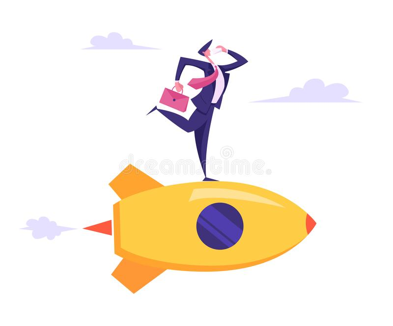 Kreatywnie Biznesowy innowacji rozpoczęcie Marketingowy Biznesowego mężczyzny charakter Mówi Smartphone latanie z teczką w ręce royalty ilustracja