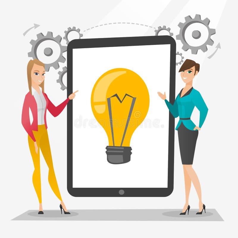 Kreatywnie bizneswomany dyskutuje biznesowych pomysły ilustracji