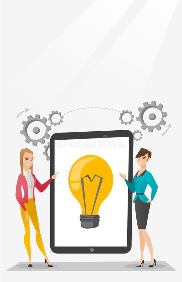 Kreatywnie bizneswomany dyskutuje biznesowych pomysły ilustracja wektor