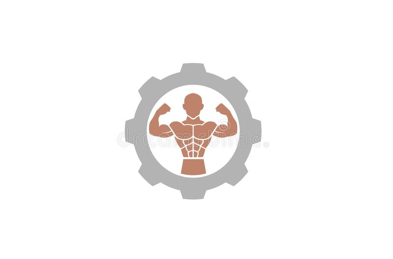 Kreatywnie Bodybuilder mięśnia przekładni logo projekta ilustracja royalty ilustracja