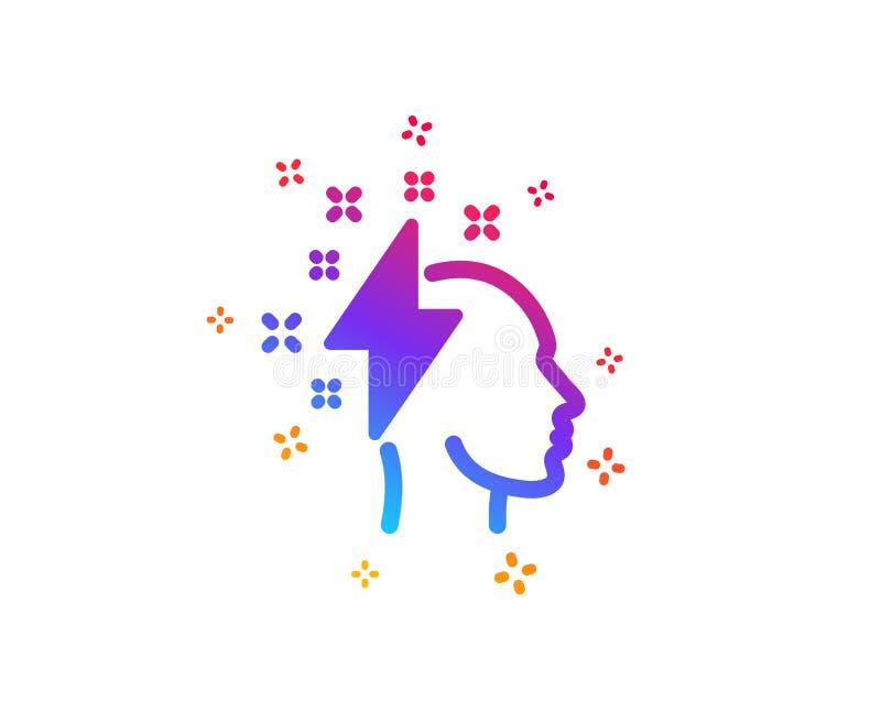 Kreatywnie brainstorming ikona Ludzka g?owa z b?yskawicowego rygla znakiem wektor ilustracja wektor