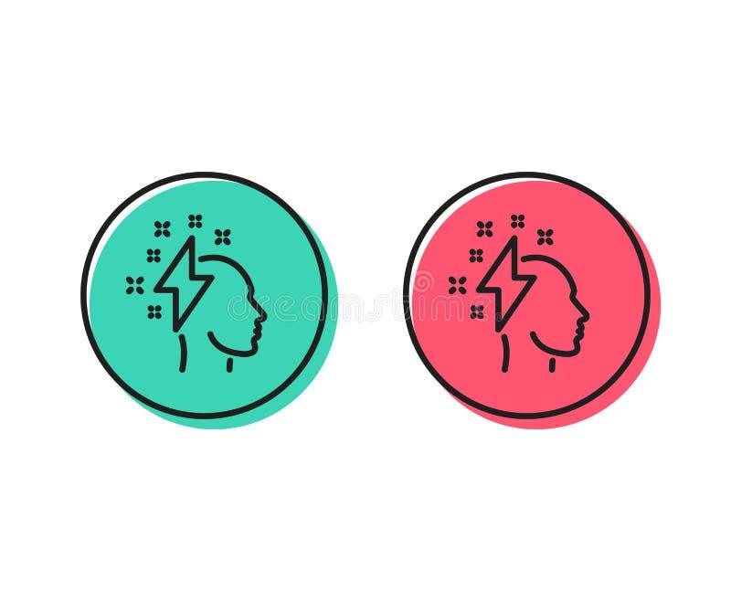 Kreatywnie brainstorming linii ikona Ludzka głowa z błyskawicowego rygla znakiem wektor ilustracja wektor