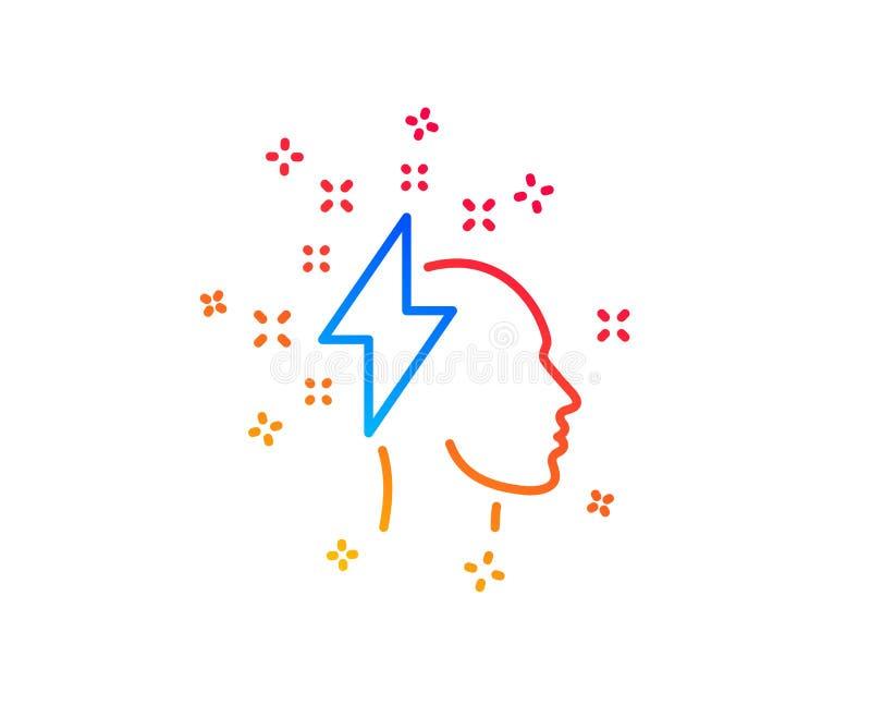 Kreatywnie brainstorming linii ikona Ludzka g?owa z b?yskawicowego rygla znakiem wektor ilustracji