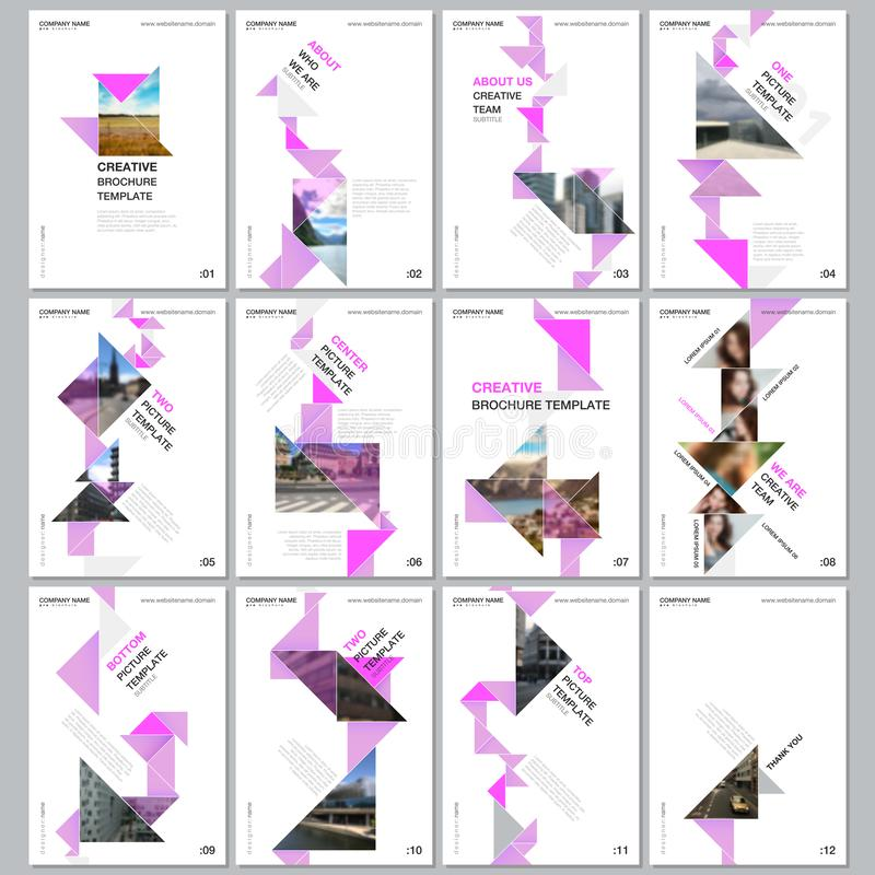Kreatywnie broszurka szablony z kolorowym trójboka origami tapetują elementy na czarnym tle Pokrywa projekta szablony royalty ilustracja