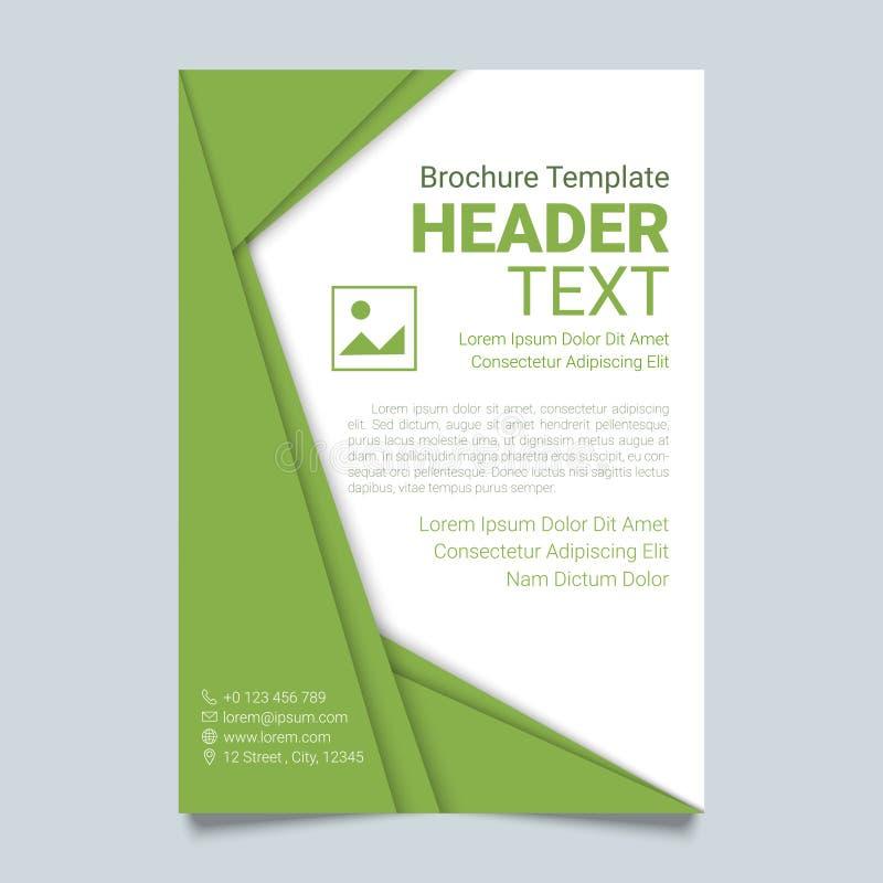 Kreatywnie broszurki wektorowy szablon w zielonym kolorze Nowożytny plakat, ulotka biznesowy szablon w materialnym projekta stylu royalty ilustracja