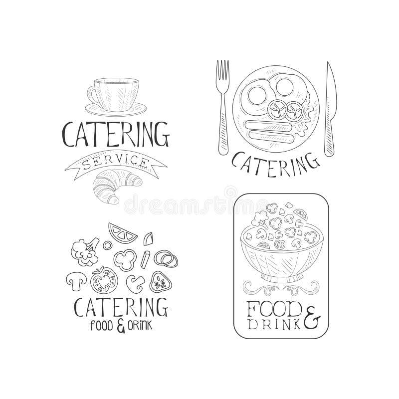 Kreatywnie catering usługa logowie w nakreślenie stylu Wręcza patroszonych wektorowych emblematy z filiżanką, Angielski śniadanie royalty ilustracja