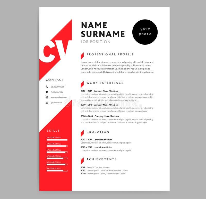 Kreatywnie CV, życiorysu szablonu czerwonego koloru tła minimalista ve/ ilustracja wektor