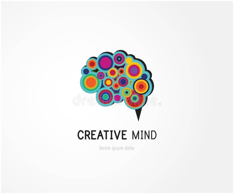 Kreatywnie, cyfrowa abstrakcjonistyczna kolorowa ikona ludzki mózg, umysł, symbol ilustracja wektor