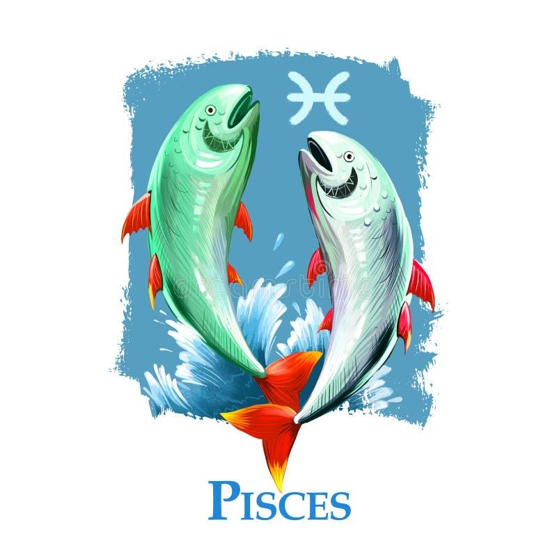 Kreatywnie cyfrowa ilustracja astrologiczni szyldowi Pisces Twelfth dwanaście podpisują wewnątrz zodiaka Horoskopu wodny element ilustracji