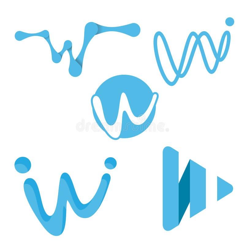 Kreatywnie cyfrowego listu w koloru błękitne ikony ilustracji