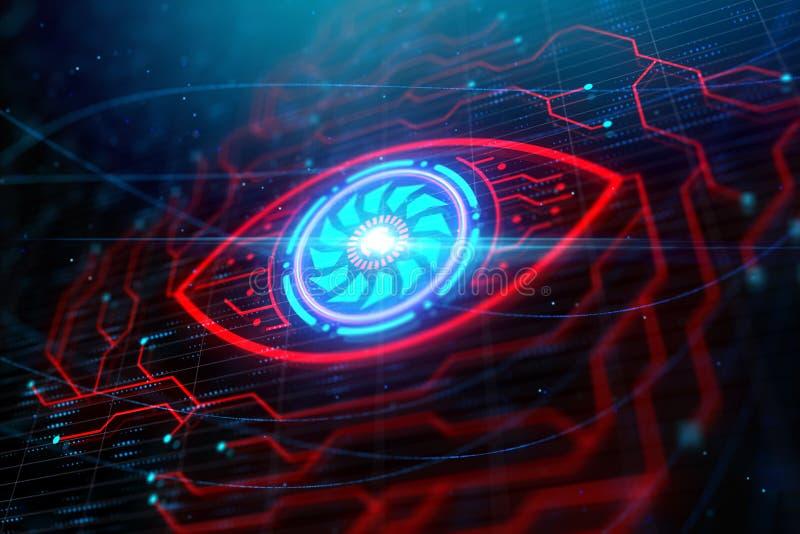 Kreatywnie cyfrowego obwodu oka tło ilustracji