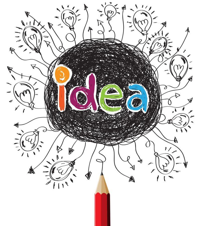 Kreatywnie czerwony ołówek z żarówka pomysłu pojęciem royalty ilustracja