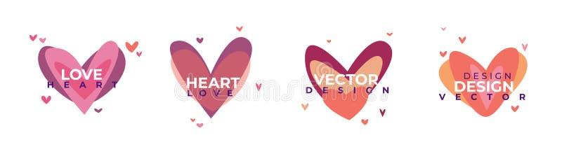 Kreatywnie czerwony serce ikony set Walentynka dnia znaka symbolu szablon P?aski projekt Kocha kartka z pozdrowieniami projekta s ilustracja wektor