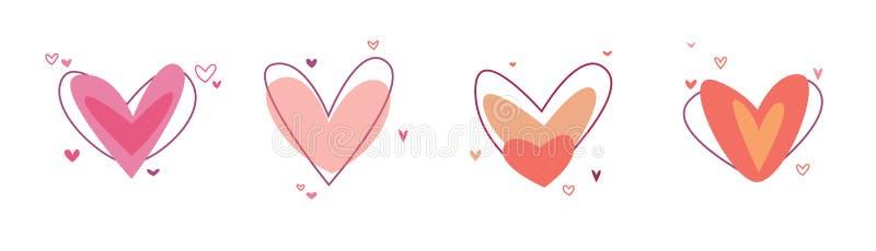 Kreatywnie czerwony serce ikony set Walentynka dnia znaka symbolu szablon P?aski projekt Kocha kartka z pozdrowieniami projekta s ilustracji