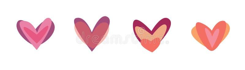 Kreatywnie czerwony serce ikony set Walentynka dnia znaka symbolu szablon P?aski projekt Kocha kartka z pozdrowieniami projekta s royalty ilustracja