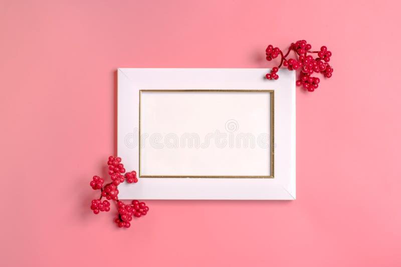 Kreatywnie deseniowy przygotowania Jesień skład robić wysuszeni liście, dogrose jagody i kwiat, na białym tle obrazy royalty free