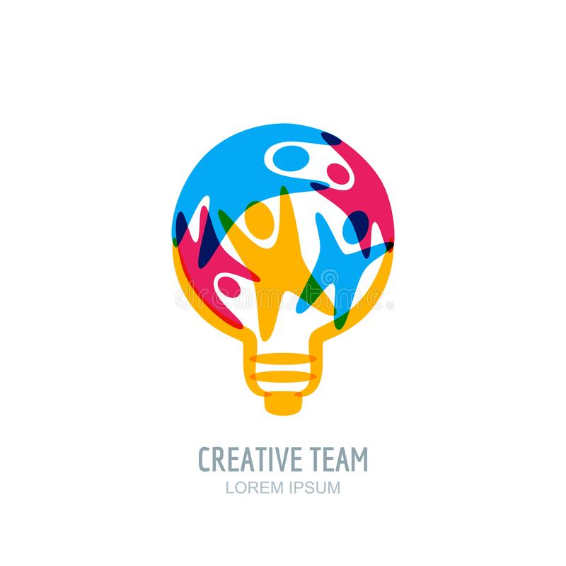 Kreatywnie drużynowy pojęcie Ludzie w żarówka kształcie Wektorowy ludzki logo, ikona, emblemata projekt Twórczość, edukacja temat ilustracja wektor
