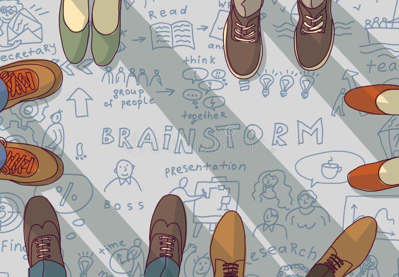 Kreatywnie drużyny grupy pomysłów brainstorm doodles ludzie ilustracja wektor