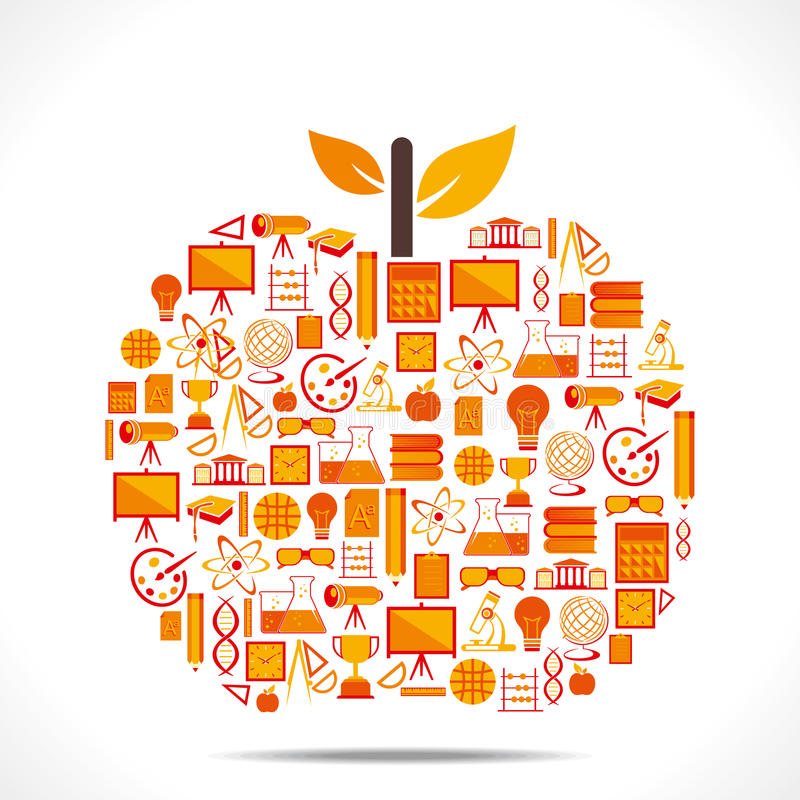 Kreatywnie edukaci ikony projekta jabłko ilustracji
