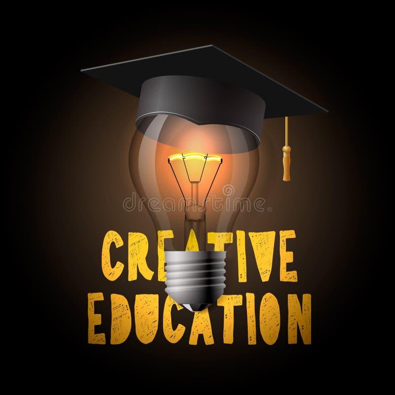 Kreatywnie edukacja projekt, żarówka z mortarboard ilustracja wektor